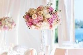 Tall Hydrangea  and Rose Centrepiece